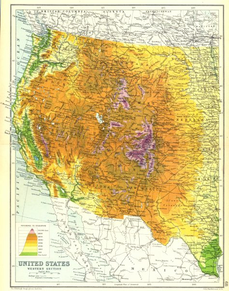 Associate Product USA WEST. United States physical showing railways open & projected. 1909 map