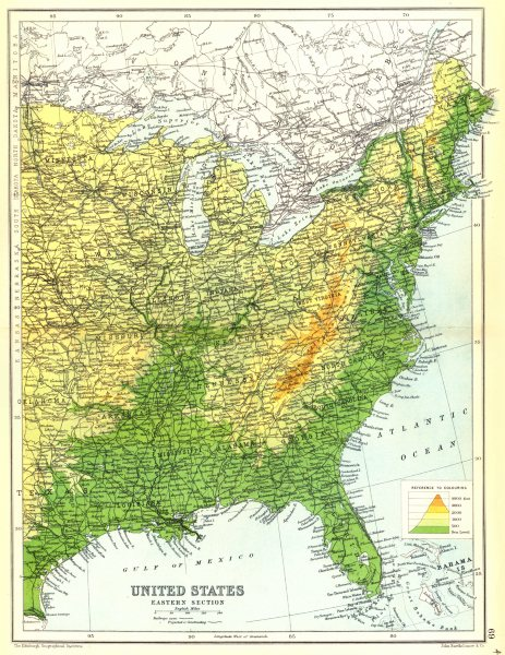 USA EAST. United States physical showing railways open & projected. 1909 map