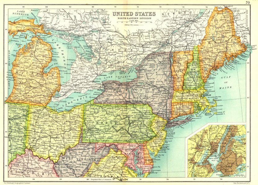 Associate Product USA NORTH EAST. Physical. Railways. Inset New York City. Cassells. 1909 map