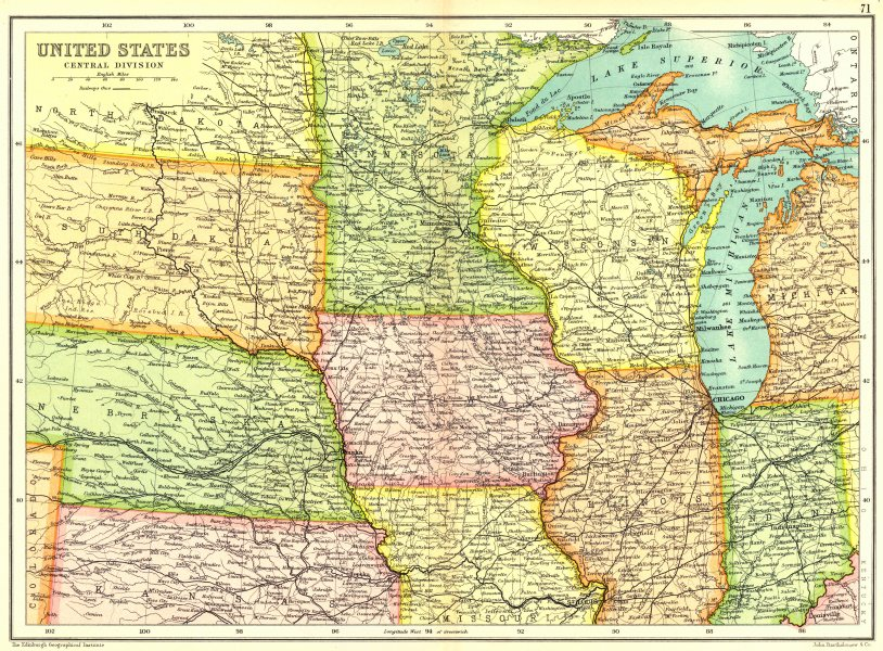Associate Product USA MIDWEST. United States. Physical. Showing railways.Cassells. 1909 old map