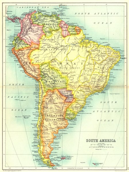 Associate Product SOUTH AMERICA. Showing railways. Cassells 1909 old antique map plan chart
