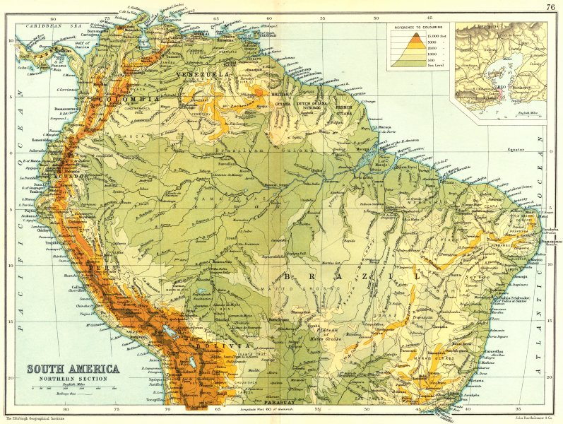Associate Product SOUTH AMERICA NORTHERN. Physical map; Inset map of Rio de Janiero 1909 old