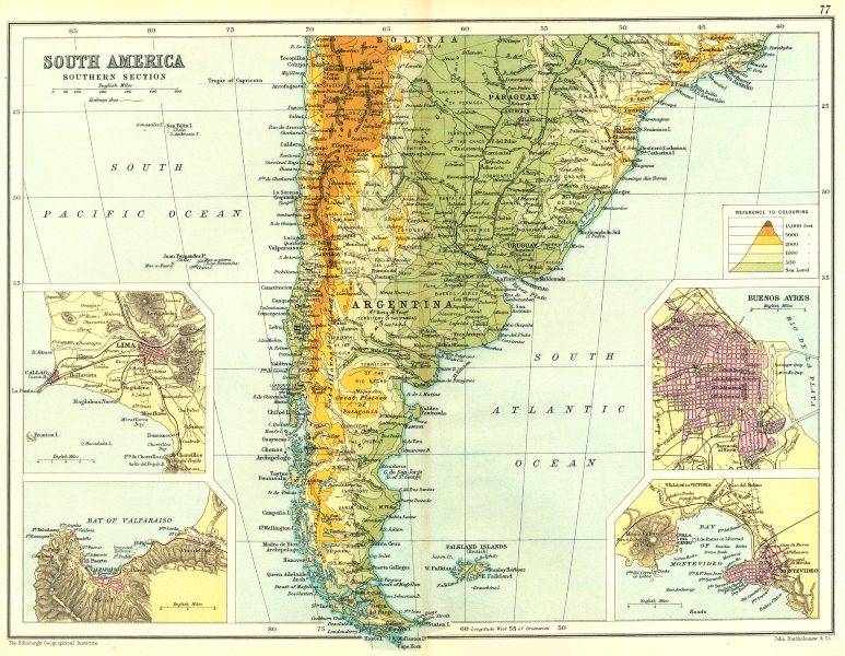 Associate Product ARGENTINA CHILE URUGUAY. Inset Lima Valparaiso Buenos Aires Montevideo 1909 map
