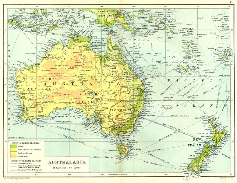 Associate Product AUSTRALASIA. Physical. Railways steamship routes telegraph cables 1909 old map