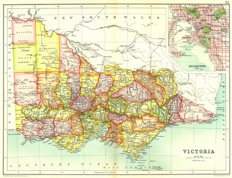 Australia Melbourne Map.Details About Victoria State Map Showing Counties Inset Map Of Melbourne Australia 1909