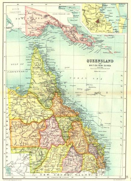 Associate Product QUEENSLAND.State map.Counties.Inset Brisbane.Australia.British New Guinea 1909