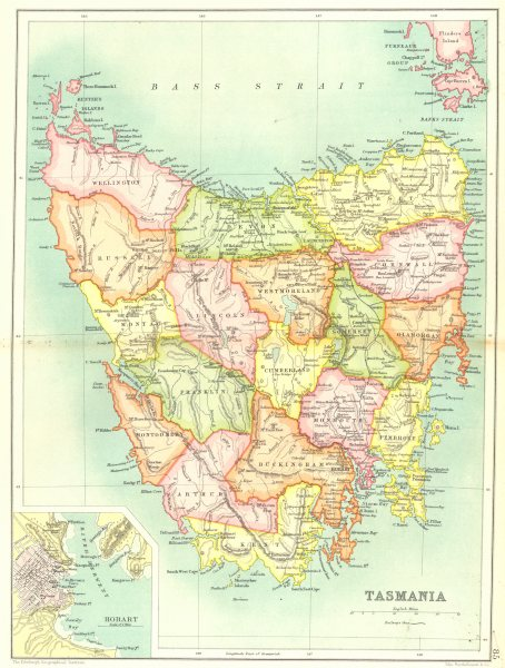 Associate Product TASMANIA. State map showing counties. Inset plan of Hobart. Australia 1909