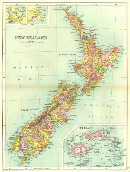 Associate Product NEW ZEALAND. Inset maps of Fiji Islands; Auckland; Dunedin. Railways 1909