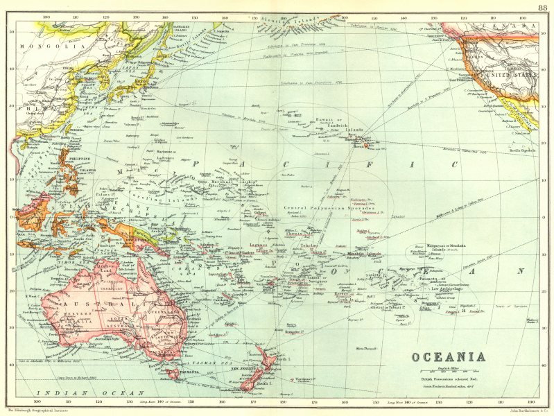 Associate Product OCEANIA AUSTRALASIA. Pacific Ocean. Ocean steamship routes 1909 old map