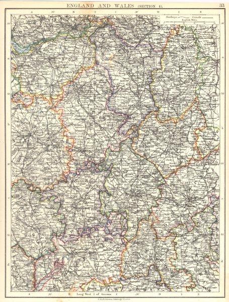 Associate Product ENGLAND.Cheshire Staffs Derbys Notts Leics Warcs Worcs Northants Shrops 1897 map