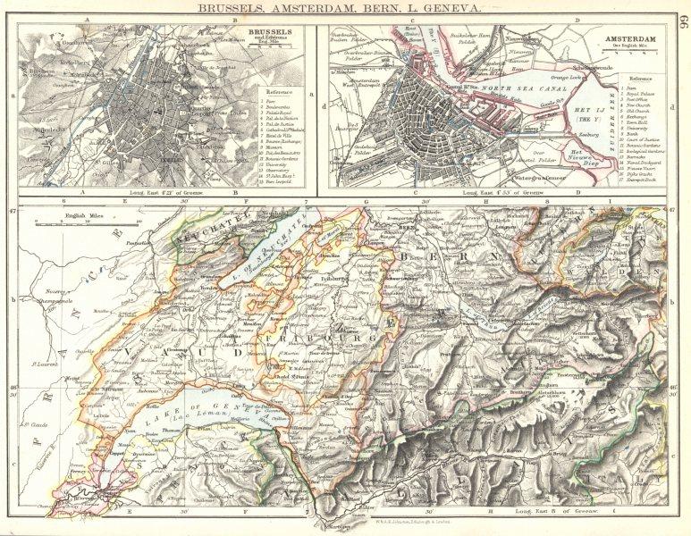 Associate Product EUROPE. Brussels, Amsterdam, Berne, L. Geneva. Vaud Fribourg 1897 old map