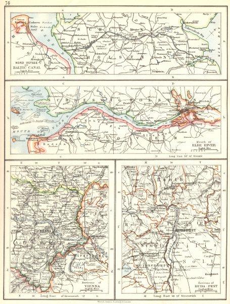 EUROPE. Baltic Kiel Canal;Mouth Elbe river Hamburg;Vienna;Budapest 1897 map