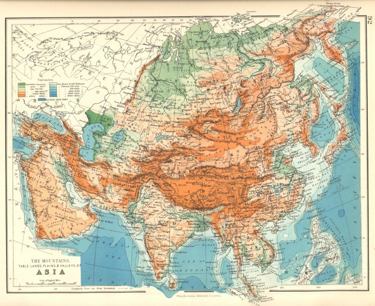 Associate Product ASIA. The mountains, Table lands, Plains. & Valleys, of Asia 1897 old map