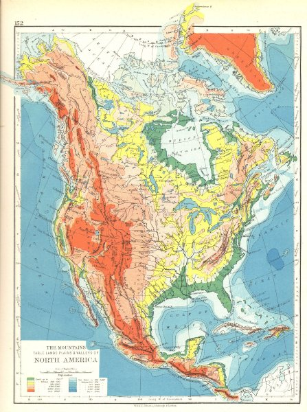Associate Product NORTH AMERICA. The mountains table lands plains & Valleys 1897 old antique map