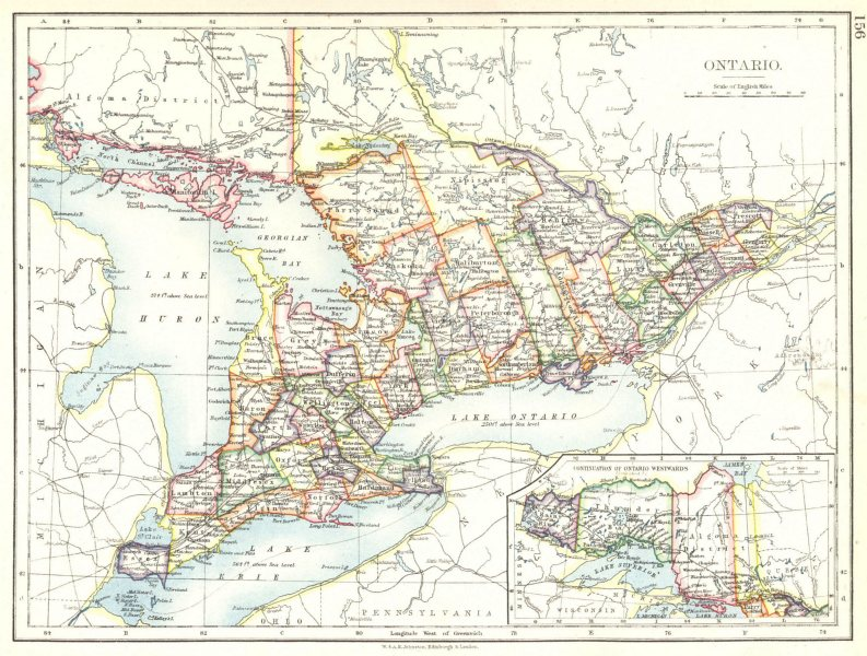Associate Product ONTARIO. CANADA. Ontario 1897 old antique vintage map plan chart