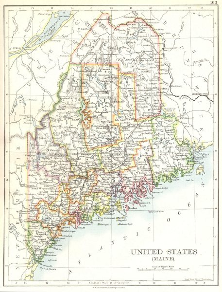 Associate Product MAINE. State map. United States 1897 old antique vintage plan chart