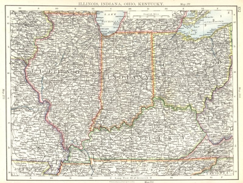 Associate Product USA MID WEST. Illinois, Indiana, Ohio, Kentucky 1897 old antique map chart