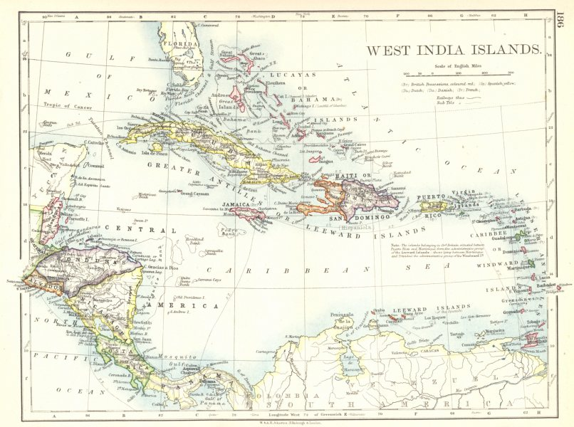 Associate Product CARIBBEAN. West Indies & Central America. West India Islands 1897 old map