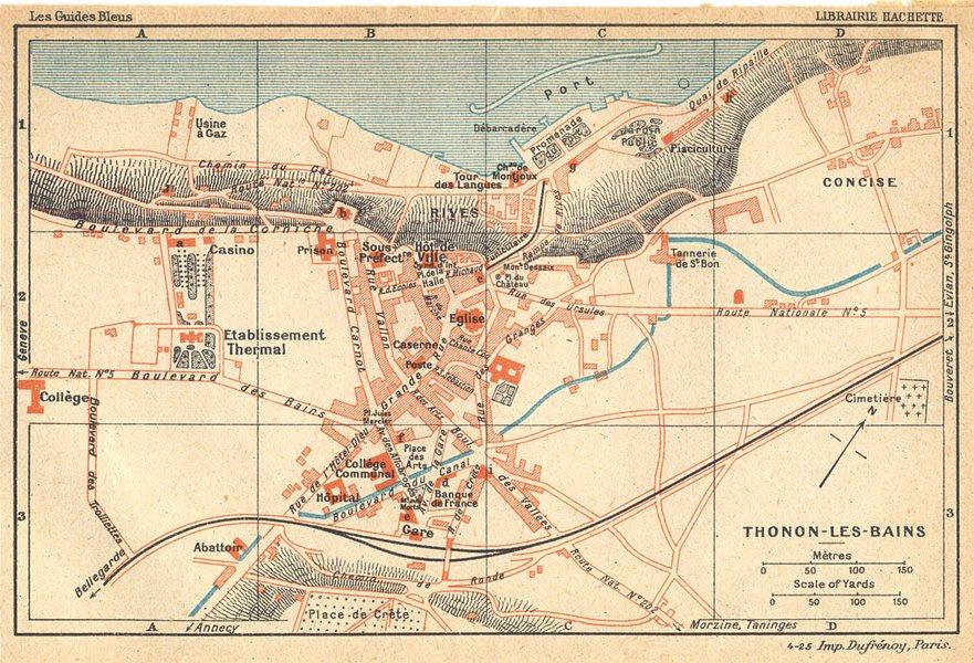Associate Product HAUTE- SAVOIE. Thonon- les- Bains 1925 old vintage map plan chart