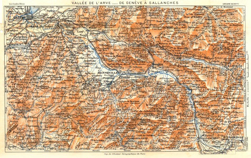 Associate Product SWITZERLAND. Vallée de L'arve- de Genève À Sallanches 1925 old vintage map