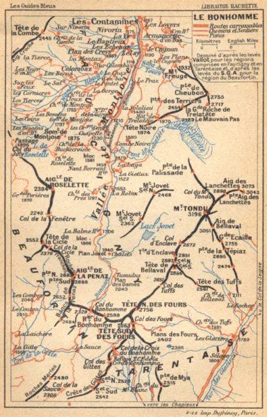 Associate Product HAUTE- SAVOIE. Le Bonhomme 1925 old vintage map plan chart