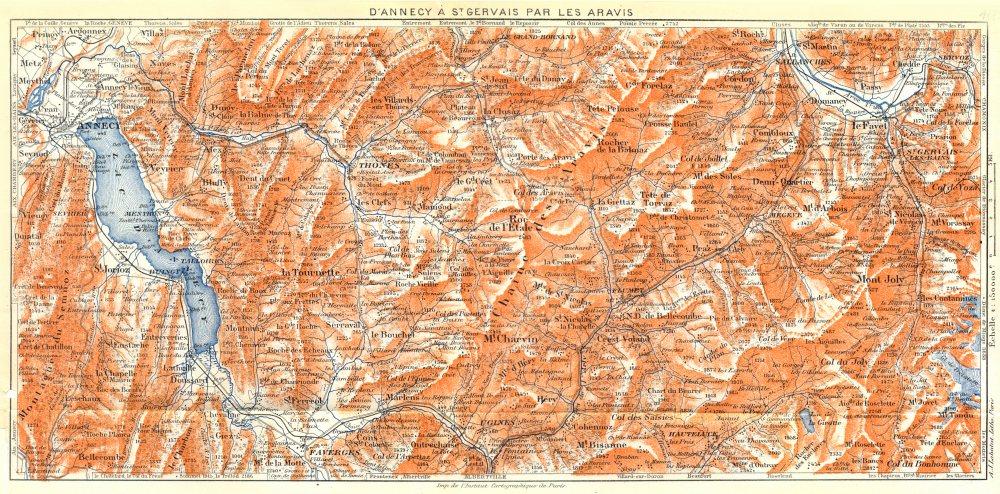 SAVOIE. D'annecy à Stgervais par les Aravis 1925 old vintage map plan chart