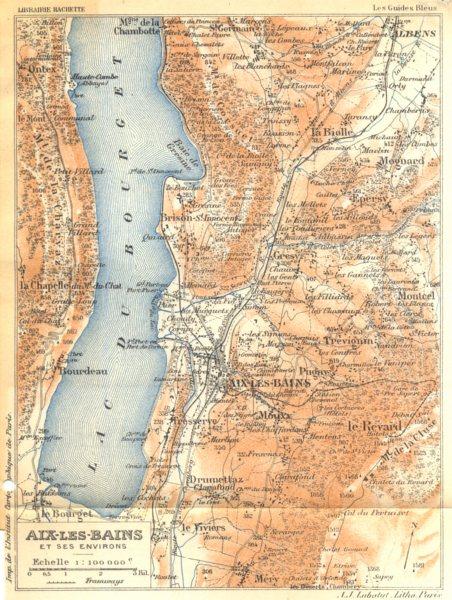 Associate Product SAVOIE. Aix- les- Bains; et ses environs 1925 old vintage map plan chart