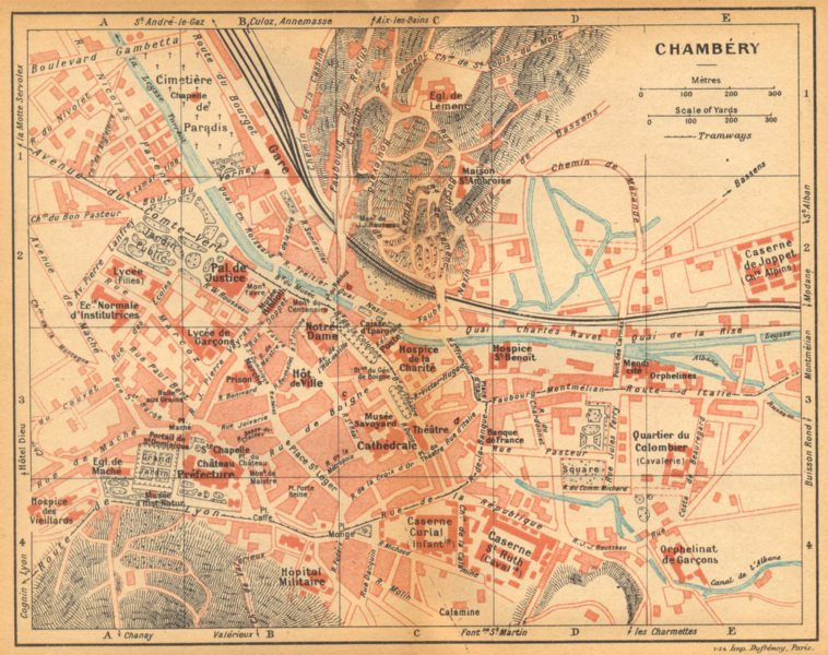 Associate Product SAVOIE. Chambéry 1925 old vintage map plan chart