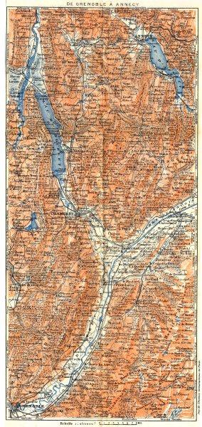Associate Product SAVOIE. De Grenoble à Annecy 1925 old vintage map plan chart