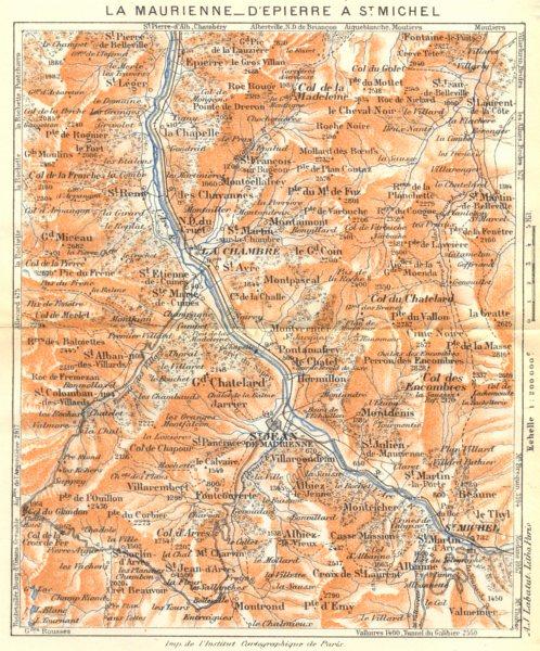 Associate Product SAVOIE. La Maurienne- D'epierre à St. Michel 1925 old vintage map plan chart