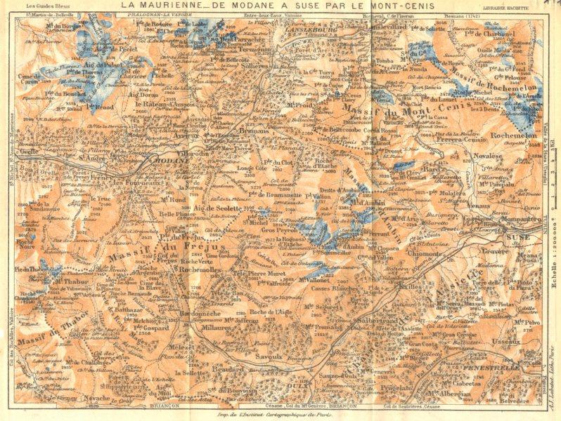 Associate Product SAVOIE. La Maurienne- de Modane a suse par le Mont- Cenis 1925 old vintage map
