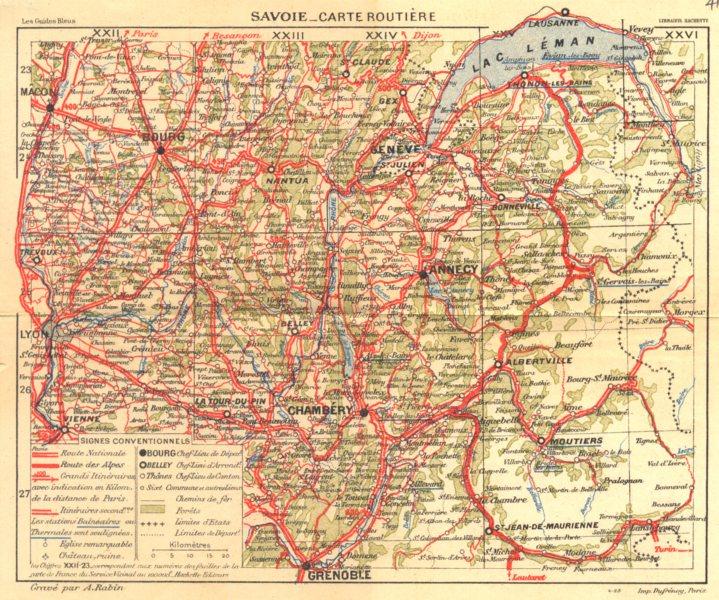Associate Product SAVOIE. Savoie- Carte Routière 1925 old vintage map plan chart