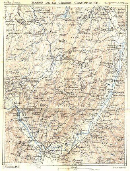 Associate Product ISÈRE. Massif de La Grande Chartreuse 1899 old antique vintage map plan