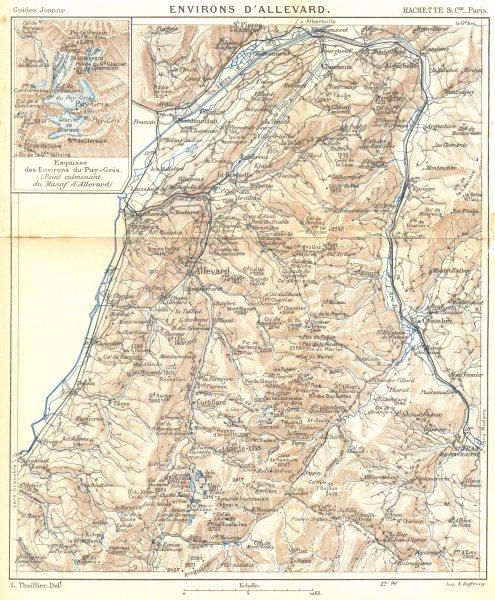 ISÈRE. Environs D'allevard; Esquisse environs Puy- gris 1899 old antique map