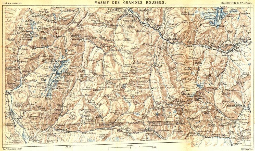 Associate Product ISÈRE. Massif des grandes Rousses 1899 old antique vintage map plan chart