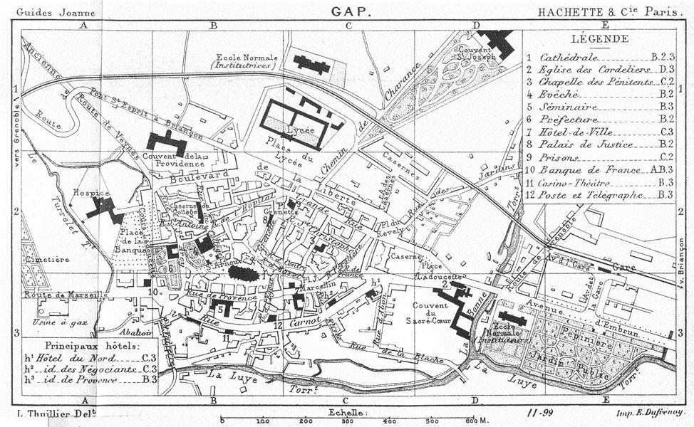 Associate Product HAUTES- ALPES. Gap (1)  1899 old antique vintage map plan chart