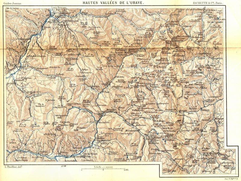 Associate Product ALPES- DE- HAUTE- PROVENCE. Hautes Vallées de L'ubaye 1899 old antique map