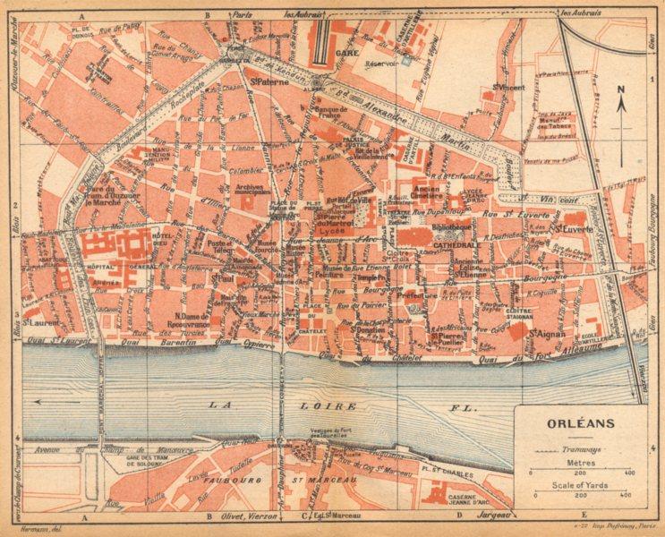 LOIRET. Orléans 1922 old vintage map plan chart