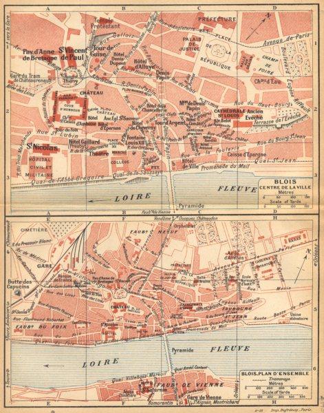 Associate Product LOIR- ET- CHER. Blois centre de la Ville; Blois_Plan D'ensemble 1922 old map