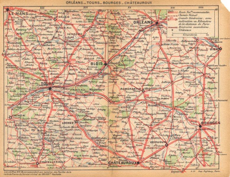 Associate Product LOIRET. Orléans- Tours- Bourges- Châteauroux 1922 old vintage map plan chart