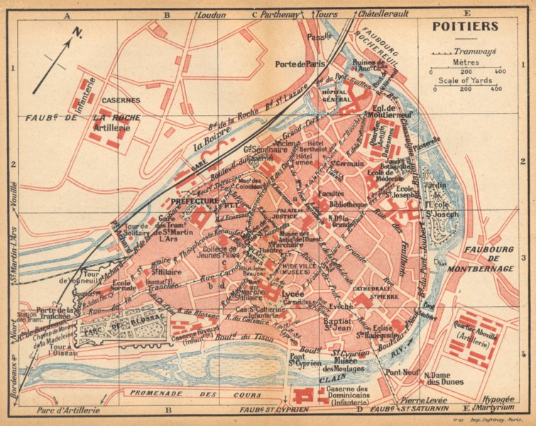 Associate Product VIENNE. Poitiers 1922 old vintage map plan chart
