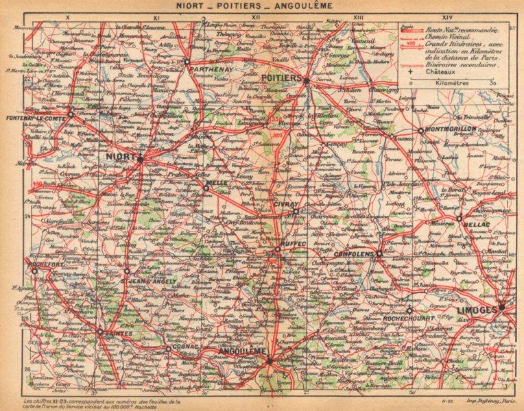 Associate Product DEUX- SÈVRES. Niort- Poitiers- Angoulême 1922 old vintage map plan chart