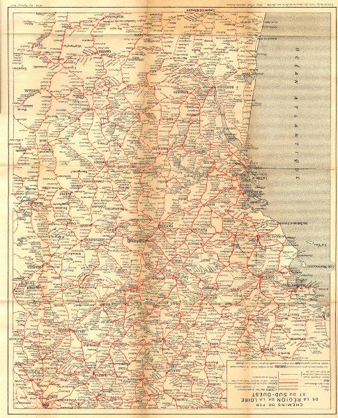 Associate Product FRANCE. Chemins de fer de la Région de la Loire et du Sud- Ouest 1922 old map