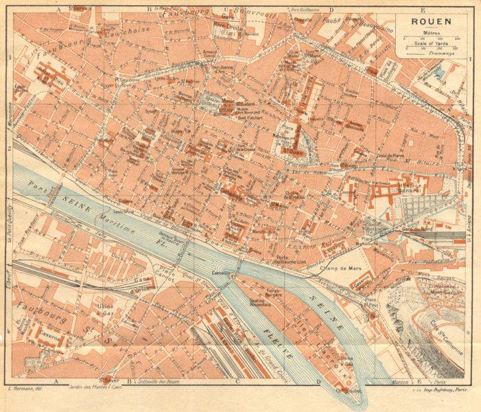 Associate Product SEINE- MARITIME. Rouen (1)  1921 old vintage map plan chart
