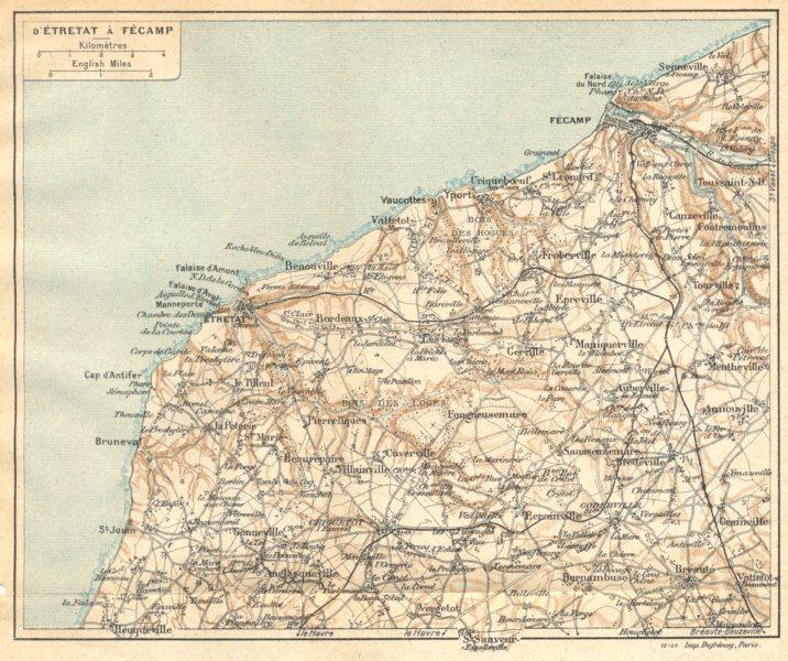 Associate Product SEINE- MARITIME. D'étretat à Fècamp 1921 old vintage map plan chart