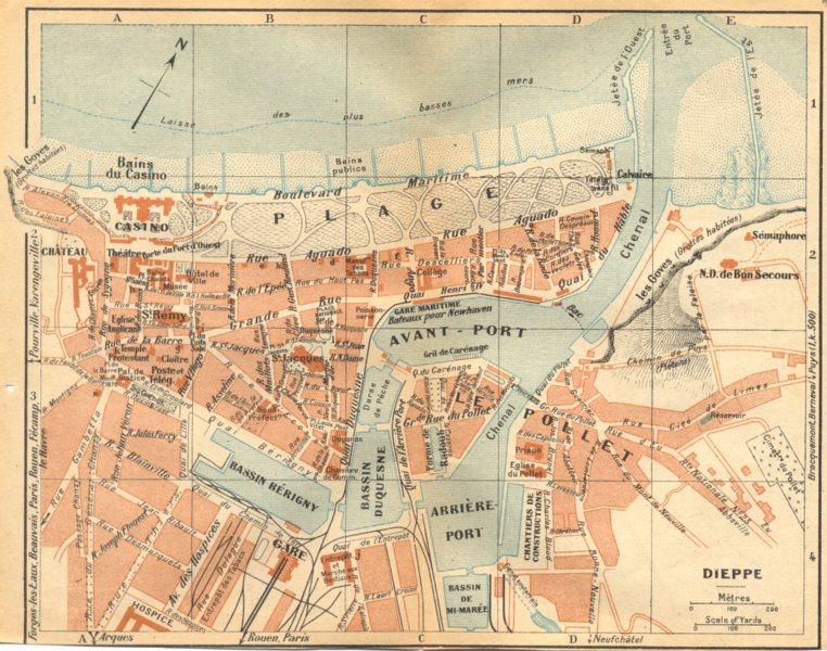 Associate Product SEINE- MARITIME. Dieppe 1921 old vintage map plan chart