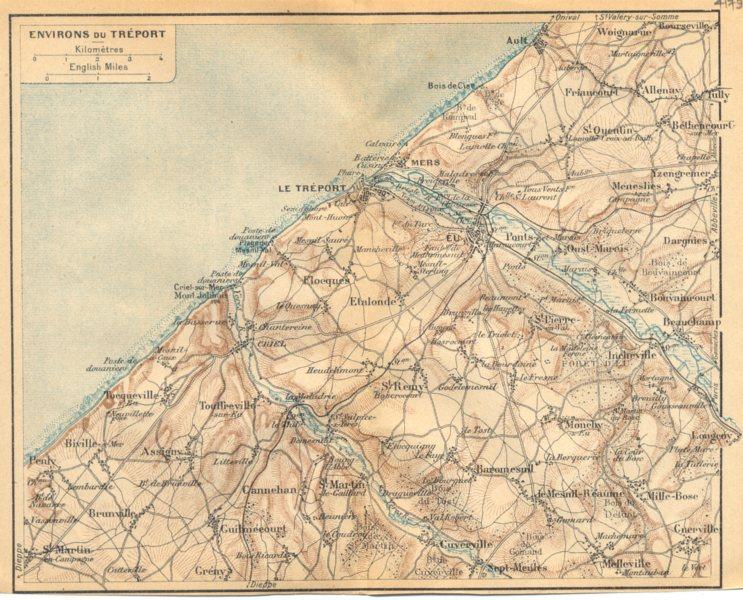 SEINE- MARITIME. Environs de Tréport 1921 old vintage map plan chart