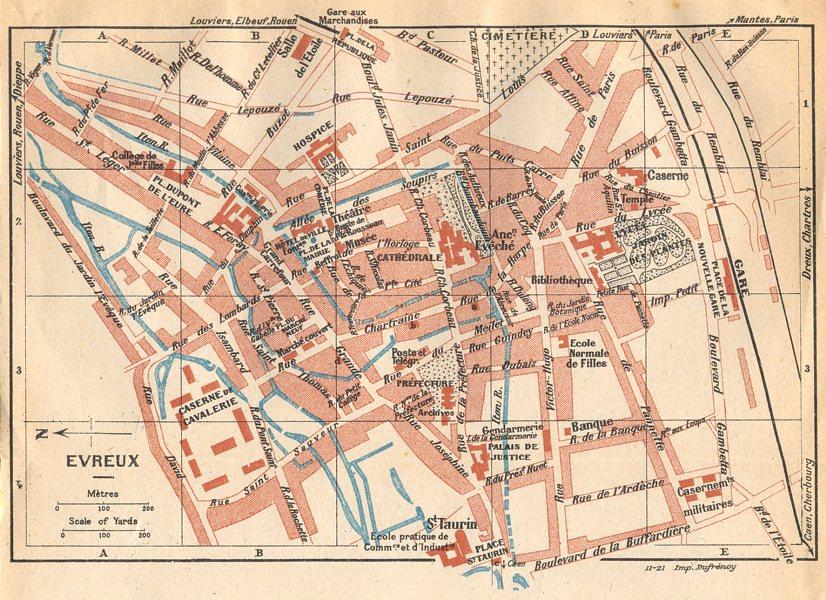 Associate Product EURE. Evreux 1921 old vintage map plan chart