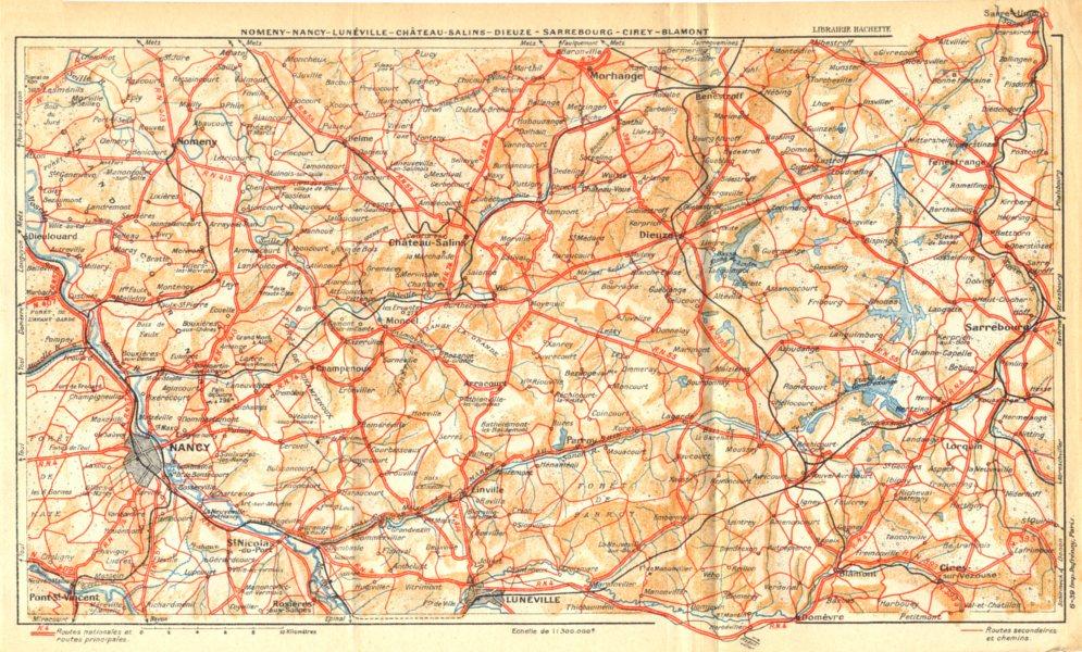 Associate Product NANCY.Nomeny-Lunéville-Château-Salins-Dieuze-Sarrebourg-Cirey-Blamont 1939 map