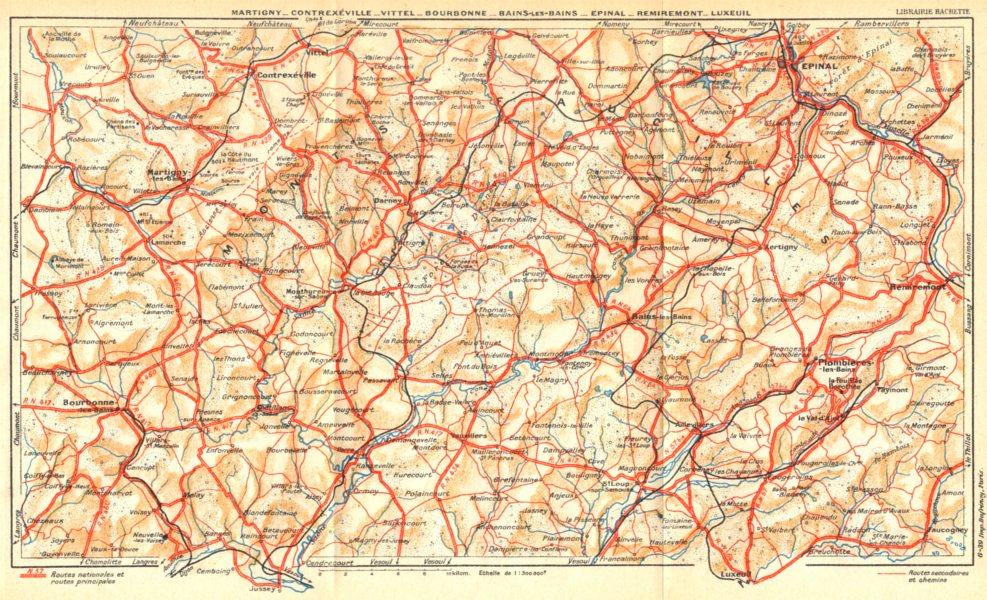 Associate Product VOSGES.Martigny-Contrexéville-Vittel-Bourbonne-Bains-Epinal-Rimiremont 1939 map